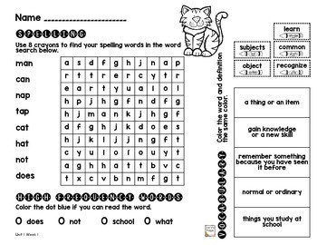 1st Grade WONDERS Spelling/Vocabulary Homework