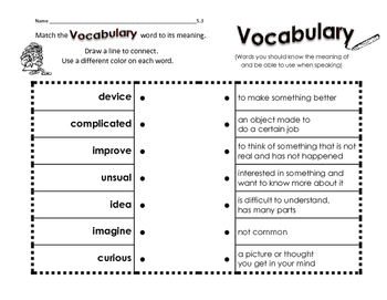 WONDERS 1st Grade VOCABULARY WORDS by McGraw Hill - Match Up END OF YEAR ONLY