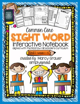 1st grade Common Core sight word interactive spelling notebook
