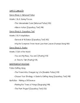 WONDERS 2020 Reading Unit 6 Schedule 5th Grade McGraw Hill