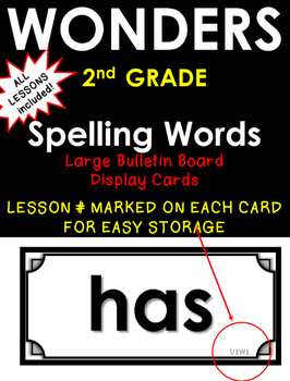 WONDERS 2nd GRADE ~ SPELLING WORDS~ Large Wall Cards~ On Level Words