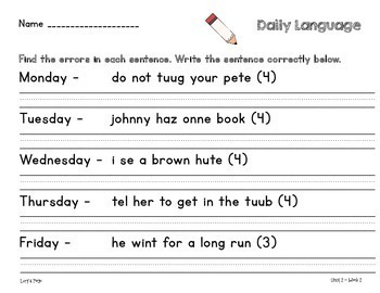 Daily Language 2nd Grade WONDERS  Units 1-6