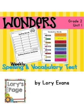 Spelling & Vocabulary Tests 2nd Grade WONDERS Unit 1