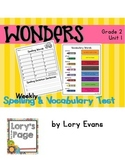 Spelling & Vocabulary Tests 2nd Grade WONDERS Unit 1