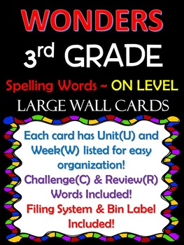 WONDERS~ 3rd GRADE (blue/Red) Large Wall Cards(Spelling) F