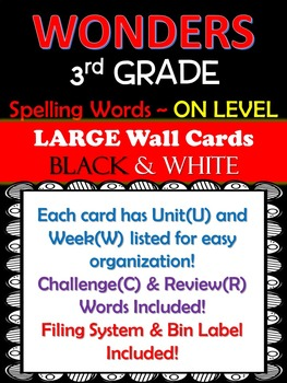 WONDERS 3rd Grade Large Wall Cards (Spelling) B&W ~Filing