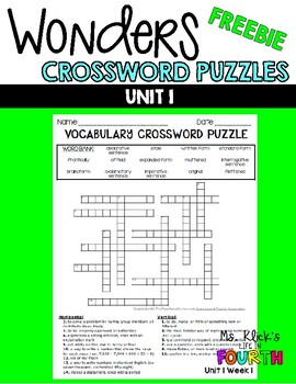 WONDERS - CrossWord Puzzles Unit 1 FREEBIE