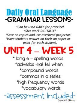 WONDERS FIRST GRADE GRAMMAR LANGUAGE ARTS DOL DAILY ORAL LANGUAGE UNIT 4 BUNDLE