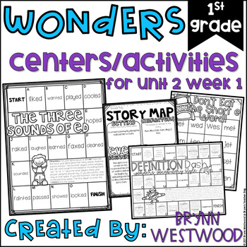 WONDERS First Grade Centers Menu and Centers Unit 2 Week 1
