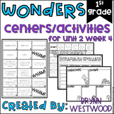 WONDERS First Grade Centers Menu and Centers Unit 2 Week 4