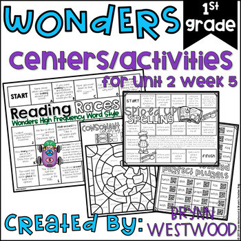 WONDERS First Grade Centers Menu and Centers Unit 2 Week 5