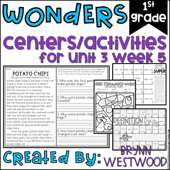 WONDERS First Grade Centers Menu and Centers Unit 3 Week 5