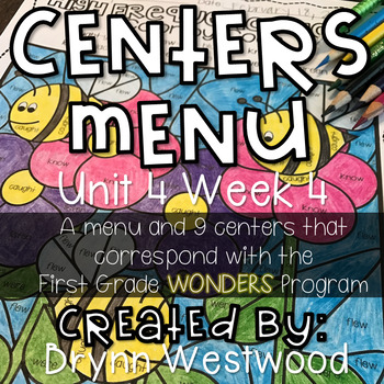 WONDERS First Grade Centers Menu and Centers Unit 4 Week 4