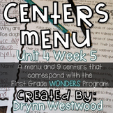 WONDERS First Grade Centers Menu and Centers Unit 4 Week 5