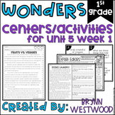WONDERS First Grade Centers Menu and Centers Unit 5 Week 1