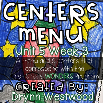 WONDERS First Grade Centers Menu and Centers Unit 5 Week 3