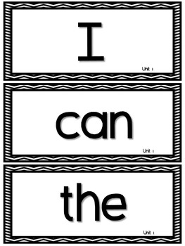WONDERS ~ Kindergarten ~ B&W Chevron ~Large Wall Cards, Filing System, Label