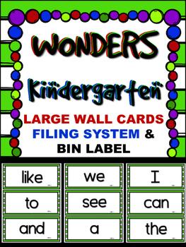 WONDERS ~ Kindergarten  LARGE Wall Cards~ Lime &White  ~Filing System & Label