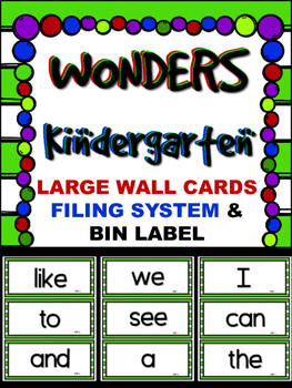 WONDERS ~ Kindergarten  LARGE Wall Cards~ Lime &White  ~Fi