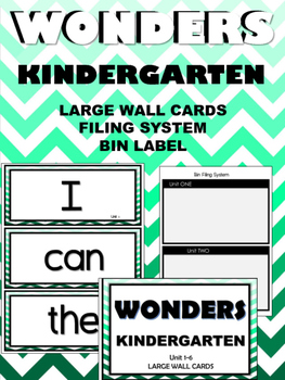 WONDERS ~ Kindergarten ~ Mint Chevron ~ Wall Words  (Filing System & Label)