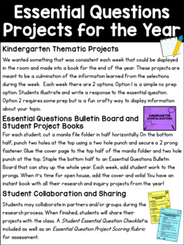 WONDERS Kindergarten Research and Inquiry Projects *Unit 3*