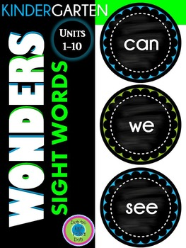 WONDERS Kindergarten Sight Words ~ Blue & Lime ~ Units 1-10 Wall Words