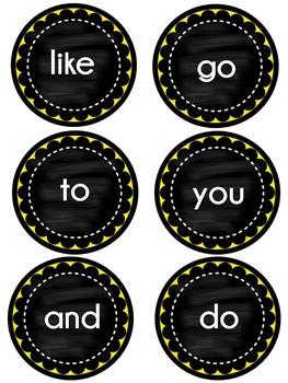 WONDERS Kindergarten Sight Words ~ Yellow & Black ~ Units 1-10 Wall Words