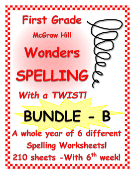 WONDERS McGraw Hill 1st Grade SPELLING with NO repeated words! BUNDLE B