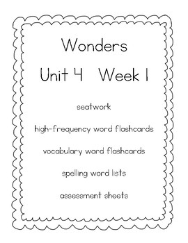 WONDERS (McGraw Hill) First Grade Resources - Unit 4
