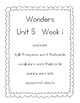WONDERS (McGraw Hill) First Grade Resources - Unit 5