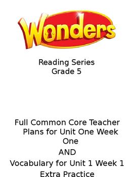 WONDERS McGraw-Hill Vocabulary Unit 1 Week 1 Grade 5
