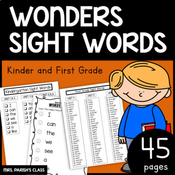 KINDER AND FIRST WONDERS SIGHT WORDS HOMEWORK/PRACTICE