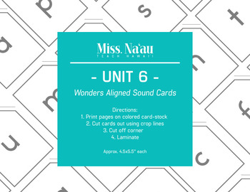 WONDERS SOUND CARDS - UNIT 6 - FIRST GRADE