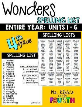 WONDERS - Spelling List - Units 1 - 6