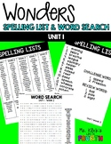 WONDERS - Spelling List & Word Search - Unit 1