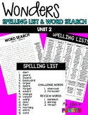 WONDERS - Spelling List & Word Search - Unit 2