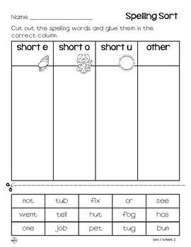 WONDERS Spelling Sort Grade 2