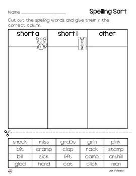 WONDERS Spelling Sort Grade 3