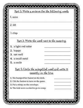 Mc Graw-Hill WONDERS Grade 3 Unit 1 Spelling Practice