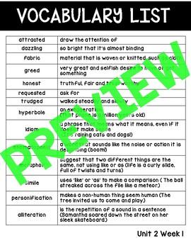 WONDERS - Vocabulary List & Test Unit 2 BUNDLE