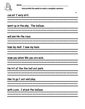 WONDERS by Mc Graw Hill - First Grade SPELLING - Unscramble the Sentence