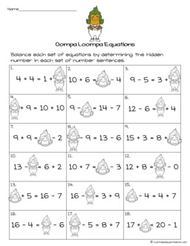 WONKA Math Printables-FREE Candy Themed Fast Finishers, Homework, Extensions