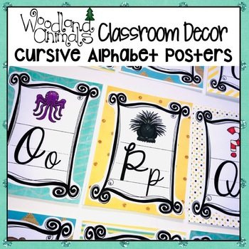 WOODLAND ANIMALS FOREST THEMED CURSIVE ALPHABET POSTERS