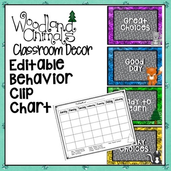 WOODLAND ANIMALS FOREST THEMED BEHAVIOR CLIP CHART