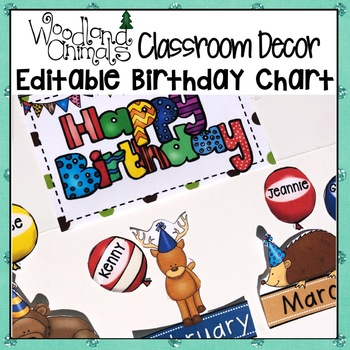 WOODLAND ANIMALS FOREST THEMED BIRTHDAY CHART BULLETIN BOARD DISPLAY