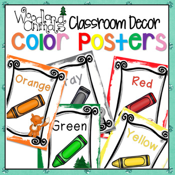 WOODLAND ANIMALS FOREST THEMED COLOR POSTERS CAMPING CLASSROOM DECOR
