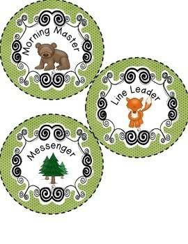 WOODLAND ANIMALS FOREST THEMED DAILY CLASSROOM JOBS CARDS