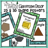 WOODLAND ANIMALS FOREST THEMED 2-D and 3-D SHAPES POSTERS