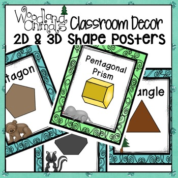 WOODLAND ANIMALS FOREST THEMED SHAPES POSTERS