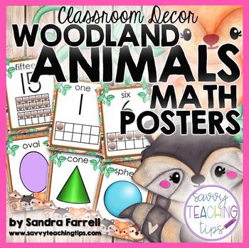 WOODLAND ANIMALS  Math Posters     Back to School Classroom Decor
